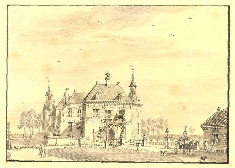 Kasteel Hackfort in Vorden. Tekening Jan de Beijer, 1743